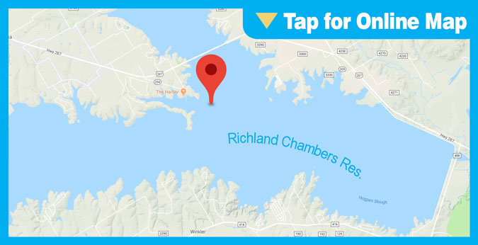 Richland Chambers Lake: Long Arm Branch Point