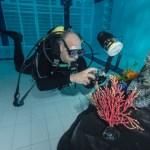 Mario Vitalini fishinfocus diver in pool underwater photograhpy course