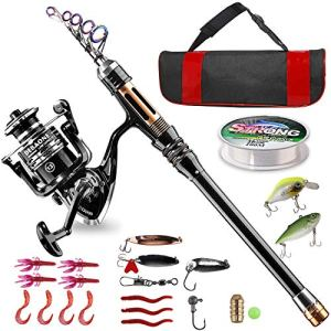 Bluefire Fishing Rod and Reel Combos Carbon Fiber Telescopic Fishing Rod Kit with Spinning Reel, Line, Lure, Hooks and Carrier Bag, Fishing Gear Set for Beginner Adults Kids Saltwater Freshwater