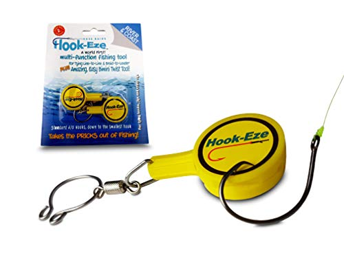 HOOK-EZE Fishing Gear Knot Tying Tool for Fishing Hooks - Cover Hooks on Fishing Rods   Line Cutter   for Saltwater Freshwater Bass Kayak Ice Fishing (Yellow)