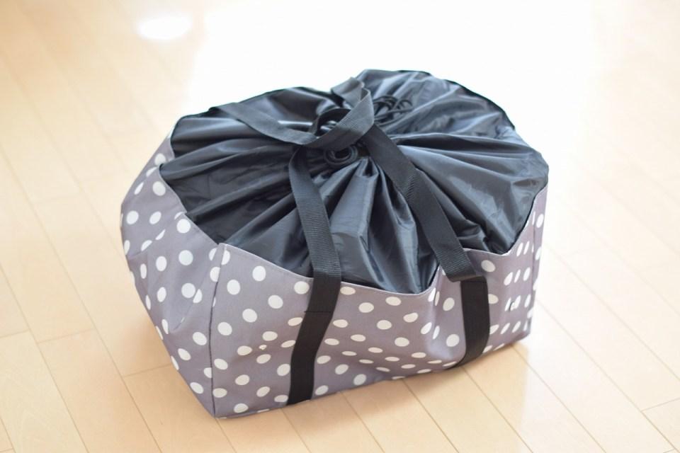 レジかごバッグに荷物を詰めた様子