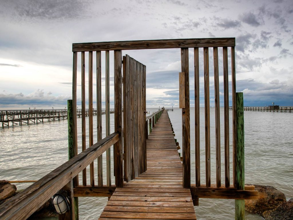 Wooden pier near Port Mansfield in Texas