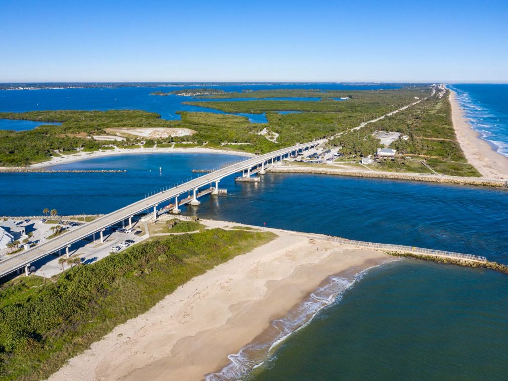 A scenic aerial view of the Sebastian Inlet