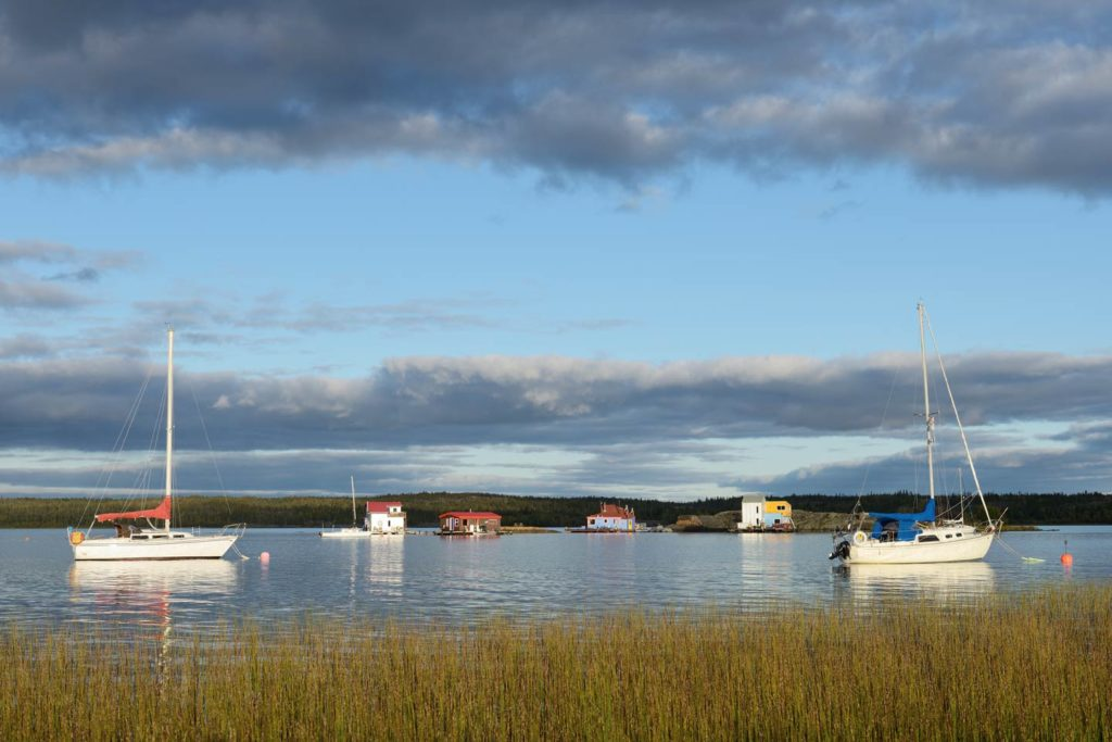 Fishes boats and lodges scattered across Great Slave Lake in Northwest Territories, Canada