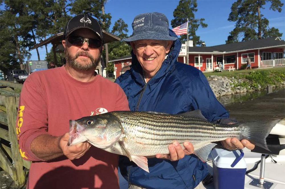 Two men hold a Striped Bass on a boat on a lake in South Carolina