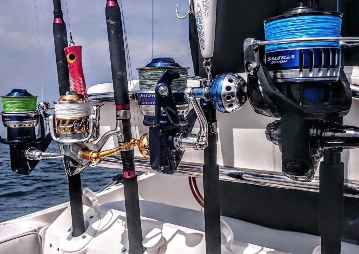 A selection of 4 fishing rods used for giant Bluefin Tuna fishing