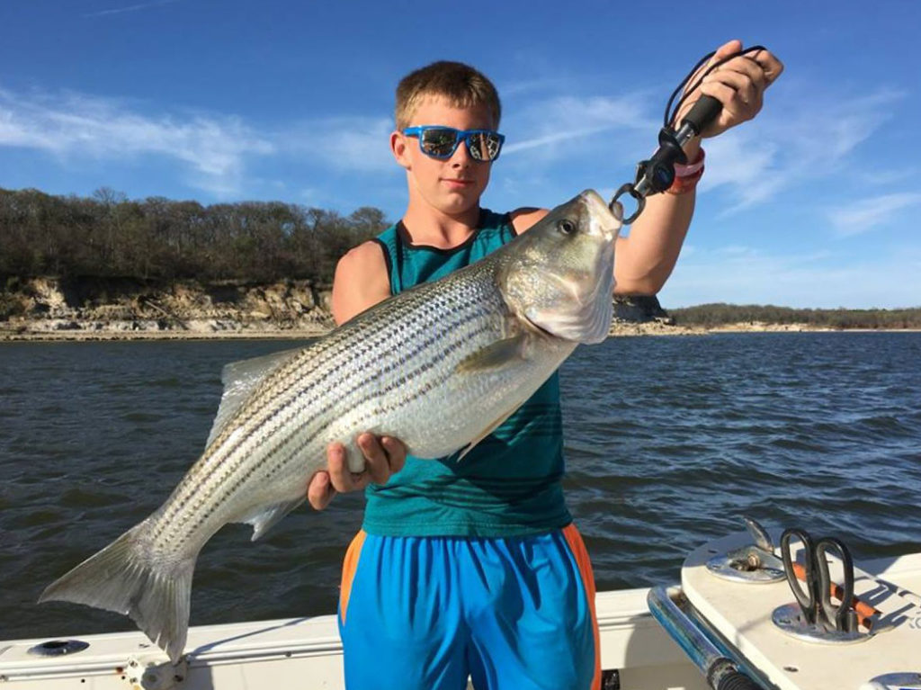 A teenage boy holds a large Striped Bass on a charter boat on a sunny day with water behind him