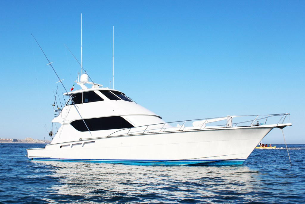 A large sportfishing boat in the water