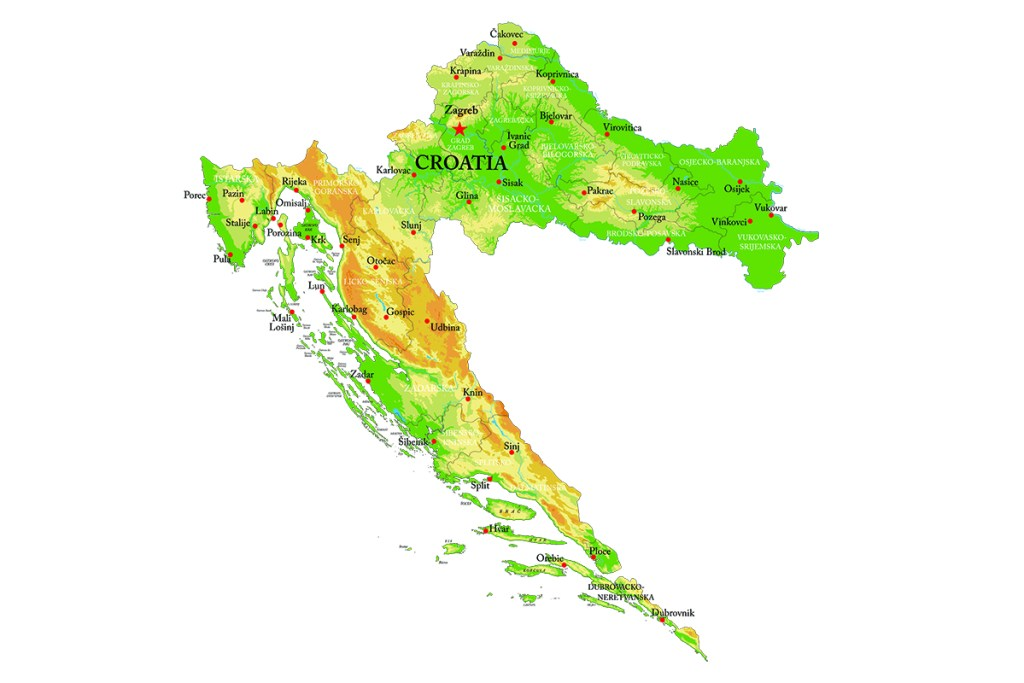A map of Croatia including the names of the largest cities