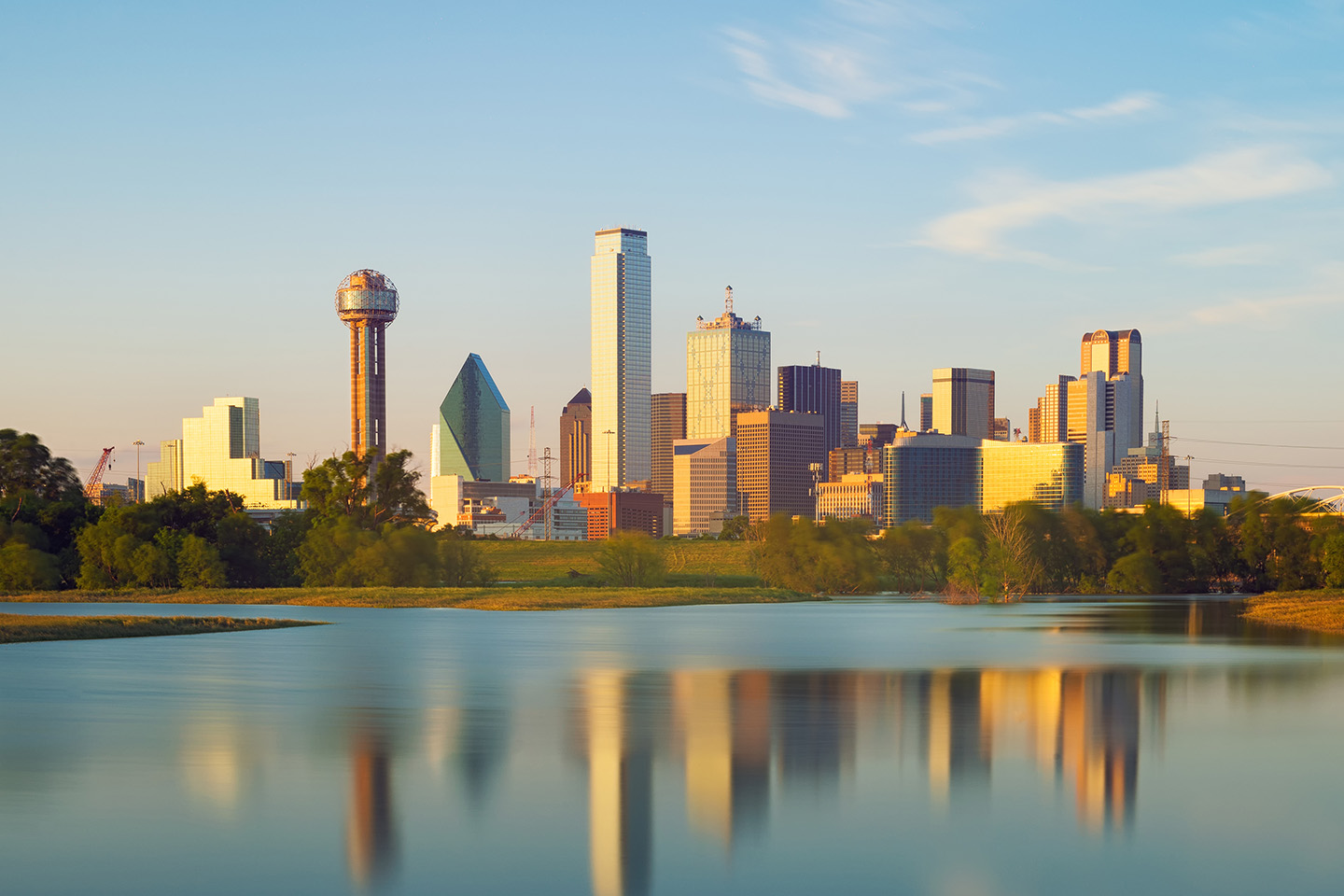 The skyline of Dallas, Texas, seen from the Trinity River