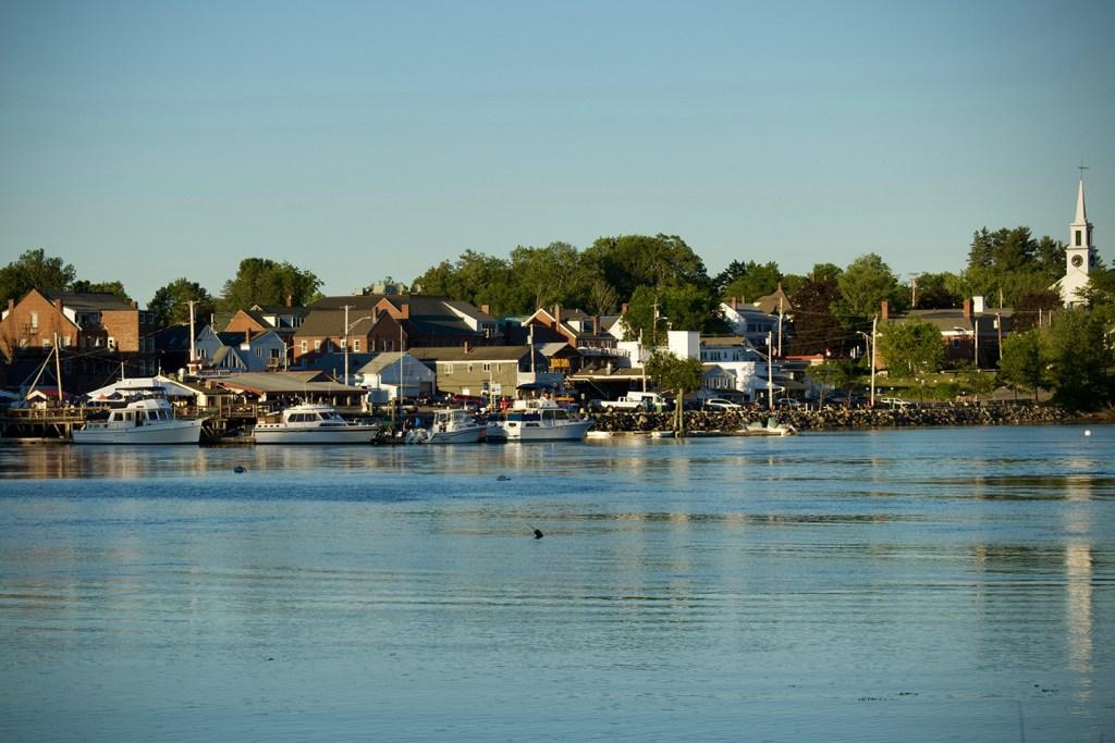 A view over Damariscotta River to the town of Damariscotta, Maine