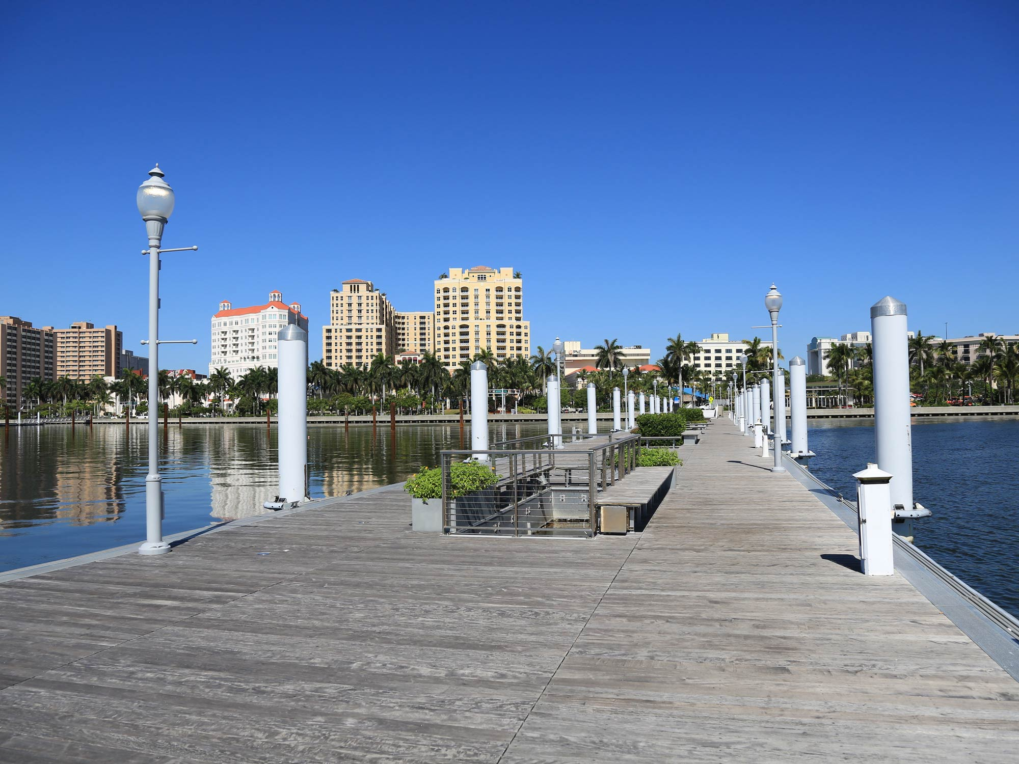 Clean and modern public docks in downtown West Palm Beach