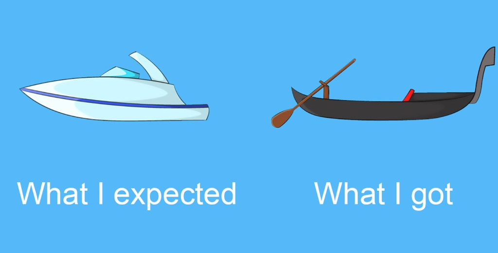 "Two different boat types with the text ""what I expected"" and ""what I got"""