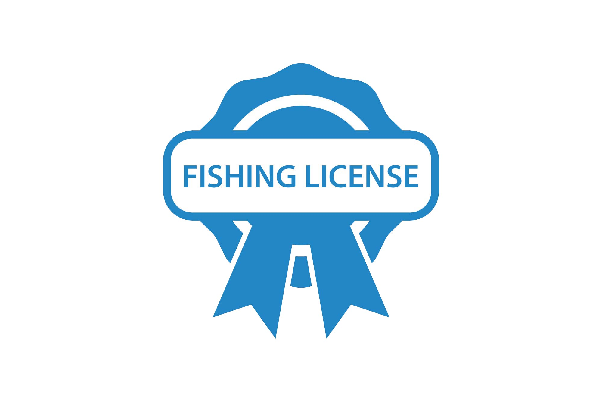 A picture of a badge with words Fishing License on it