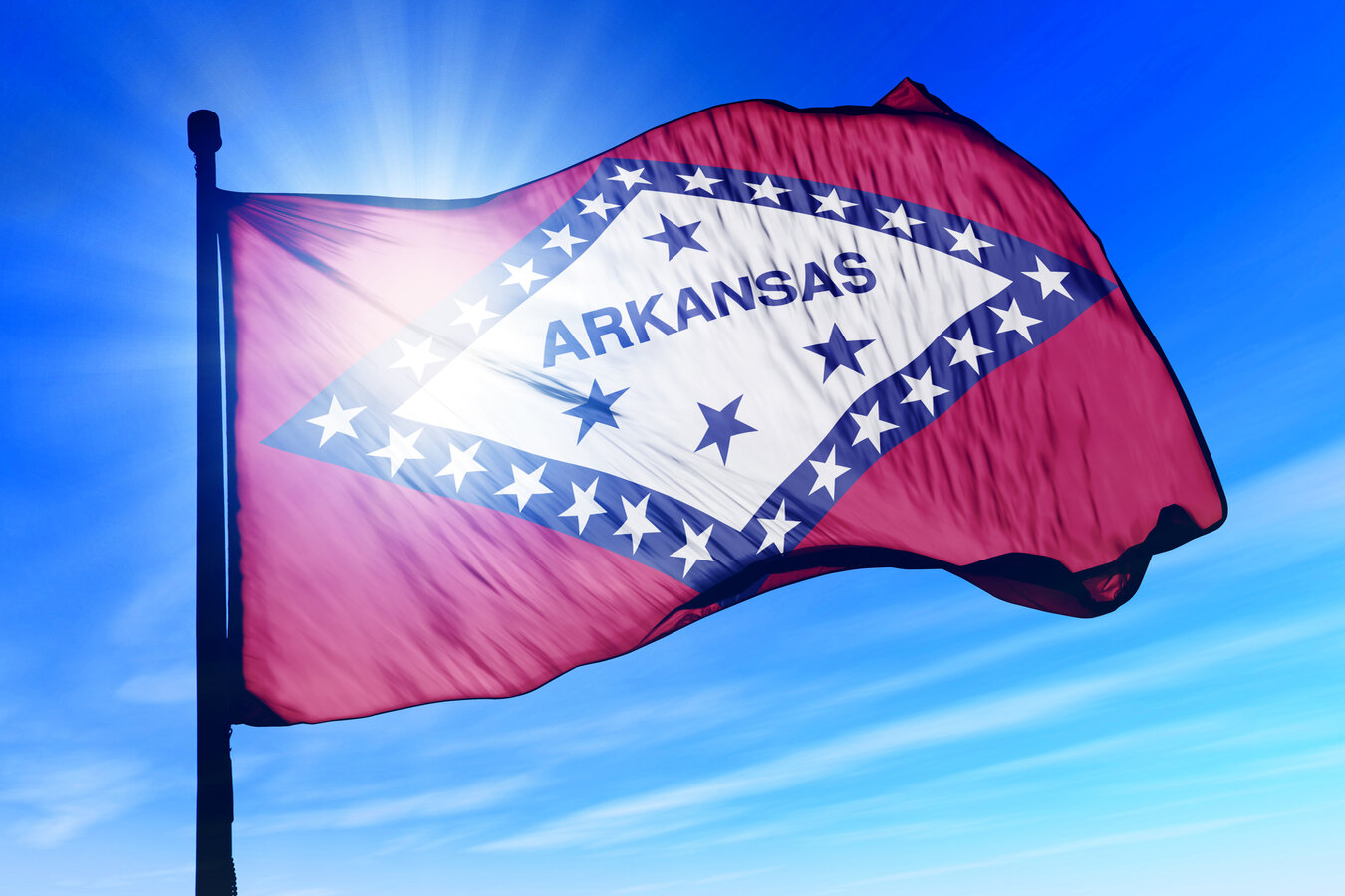 A flag of Arkansas waiving in the air, blue sky in the background