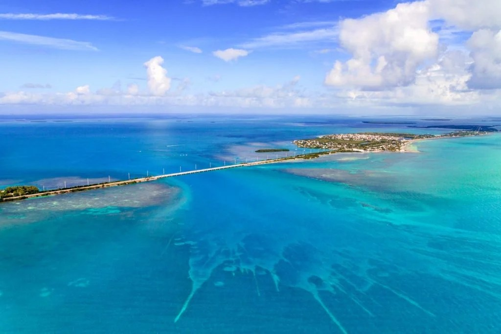 An aerial shot of the Florida Keys.