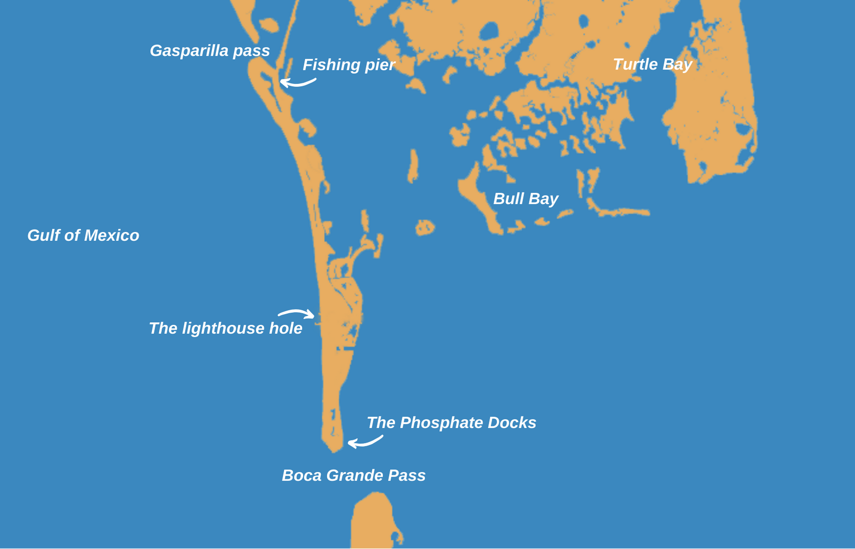 An infographic showing a map of top places to fish in Boca Grande, Florida – Gasparilla Pass, Fishing Pier, Turtle Bay, Bull Bay, The Phosphate Docks, Boca Grande Pass, The Lighthouse Hole, Gulf of Mexico