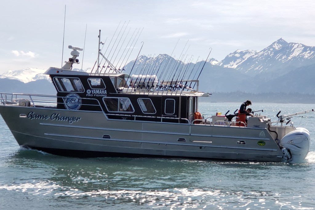 An aluminum boat on the water in Alaska.