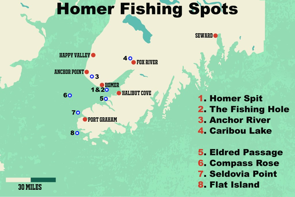 """A map showing the best Homer fishing spots. The spots are numbered and marked in blue and white. On the right, the fishing spots are listed as follows: """"1. Homer Spit 2. The Fishing Hole 3. Anchor River 4. Caribou Lake  5. Eldred Passage 6. Copmass Rose 7. Seldovia Point 8. Flat Island"""""""