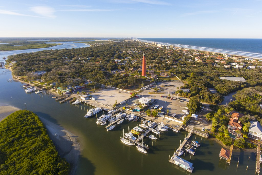 Aerial view of Inlet Harbor along Halifax River, Ponce Inlet