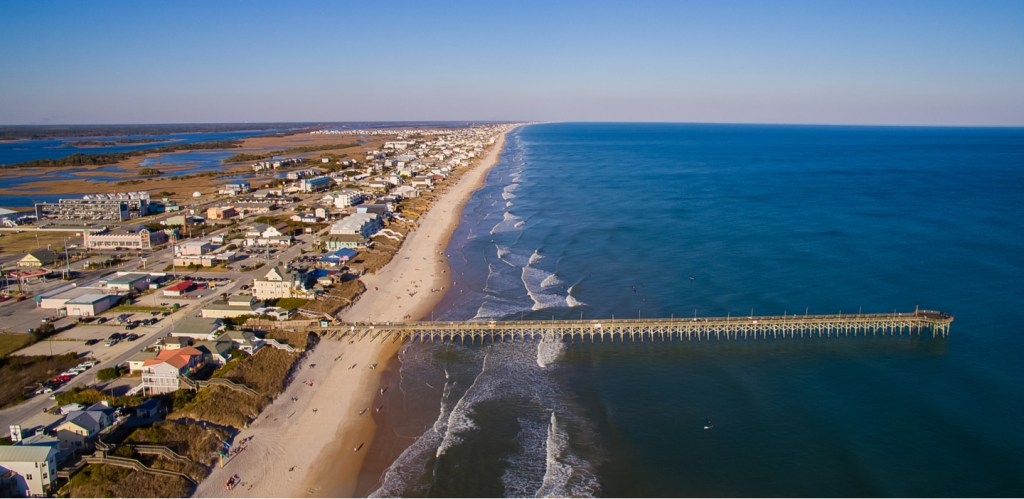 Areal view of Johnnie Mercers Fishing Pier, one of the fishing piers around Wilmington, North Carolina