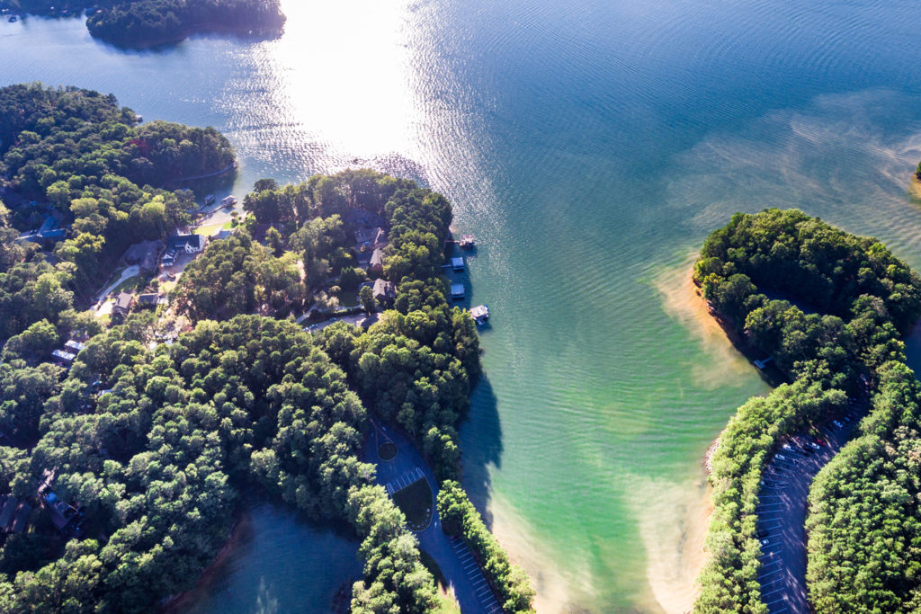 An aerial view of Lake Lanier showing boats, water, and greenery on a sunny day