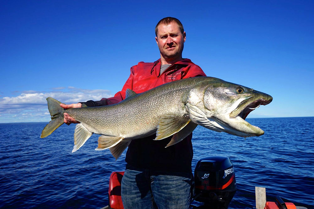 an angler holding a giant Lake Trout on Great Bear Lake