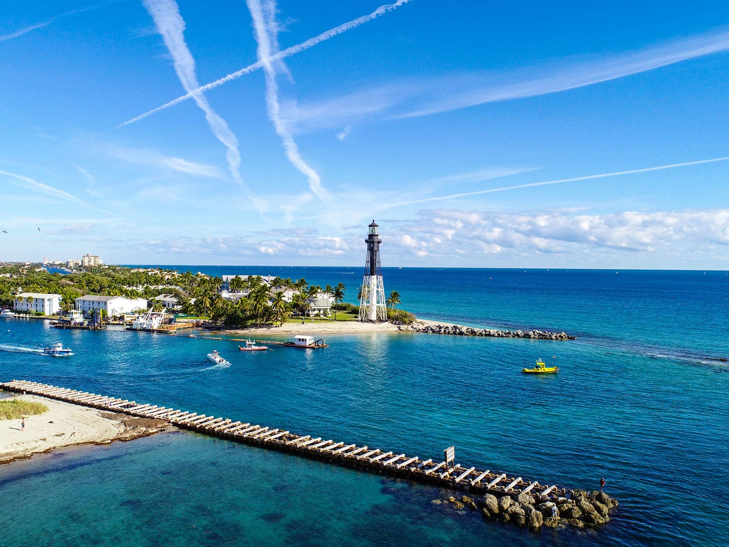 Aerieal view of Lighthouse Point form Pompano Beach