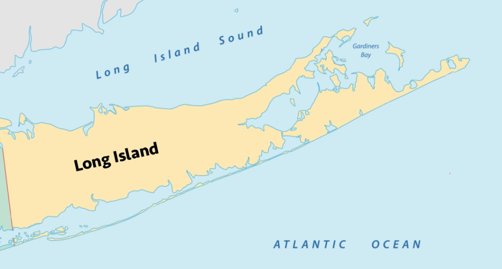 Map showing the three main fishing grounds in Long Island: Gardeners Bay, Long Island Sound, and the Atlantic.