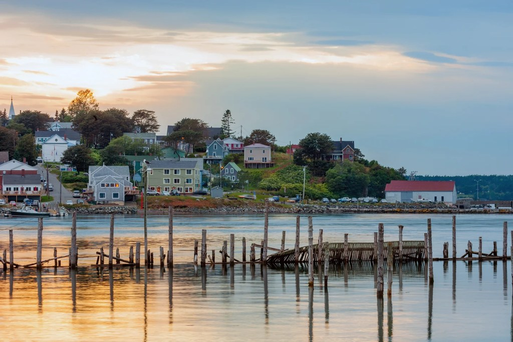 A view over the water to Lubec, one of the best coastal towns in Maine