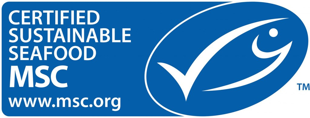 The logo of the MSC, or Marine Stewardship Council.