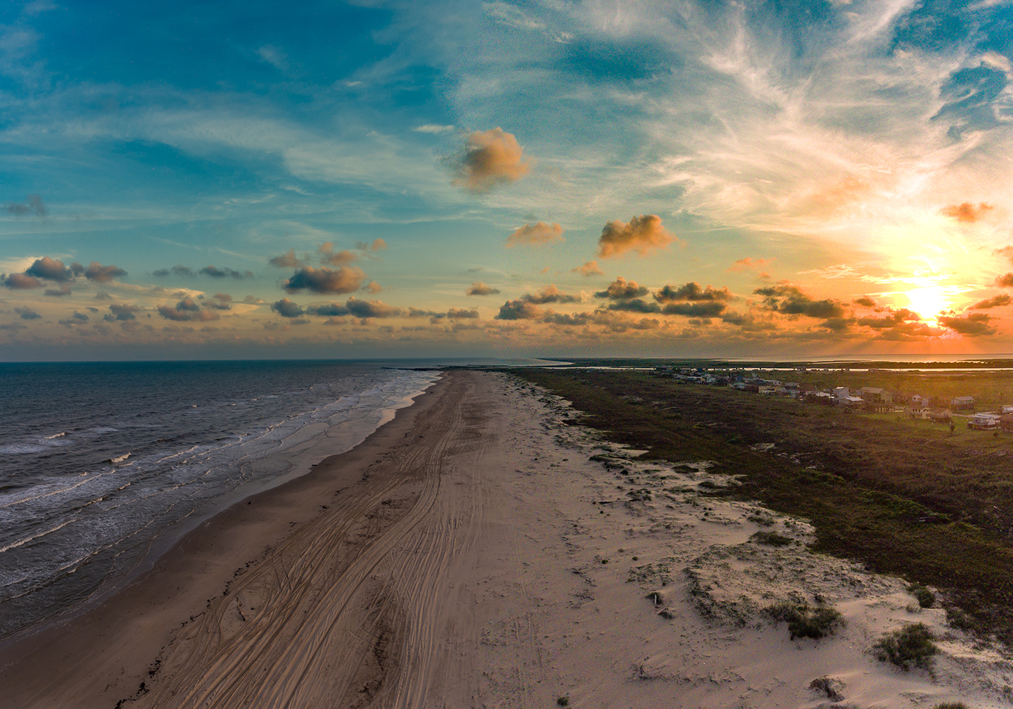 An aerial view of Matagorda Beach in Texas, one of 2019's most up-and-coming fishing towns