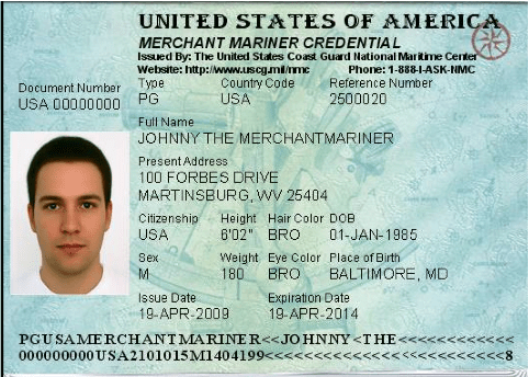 A sample merchant mariner credential, also known as a captain's license. This is one of the things you should always ask about when you choose a fishing charter