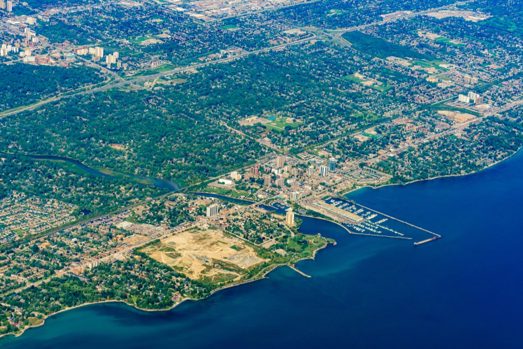 areal view of Port Credit, Mississauga, Ontario