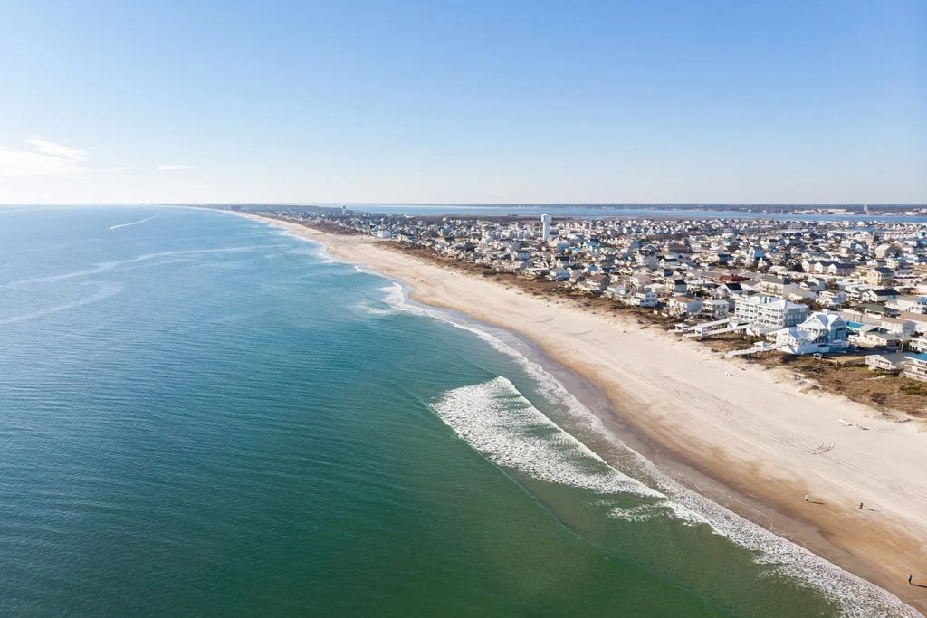 An aerial view of the beach and town in Morehead City, North Carolina.