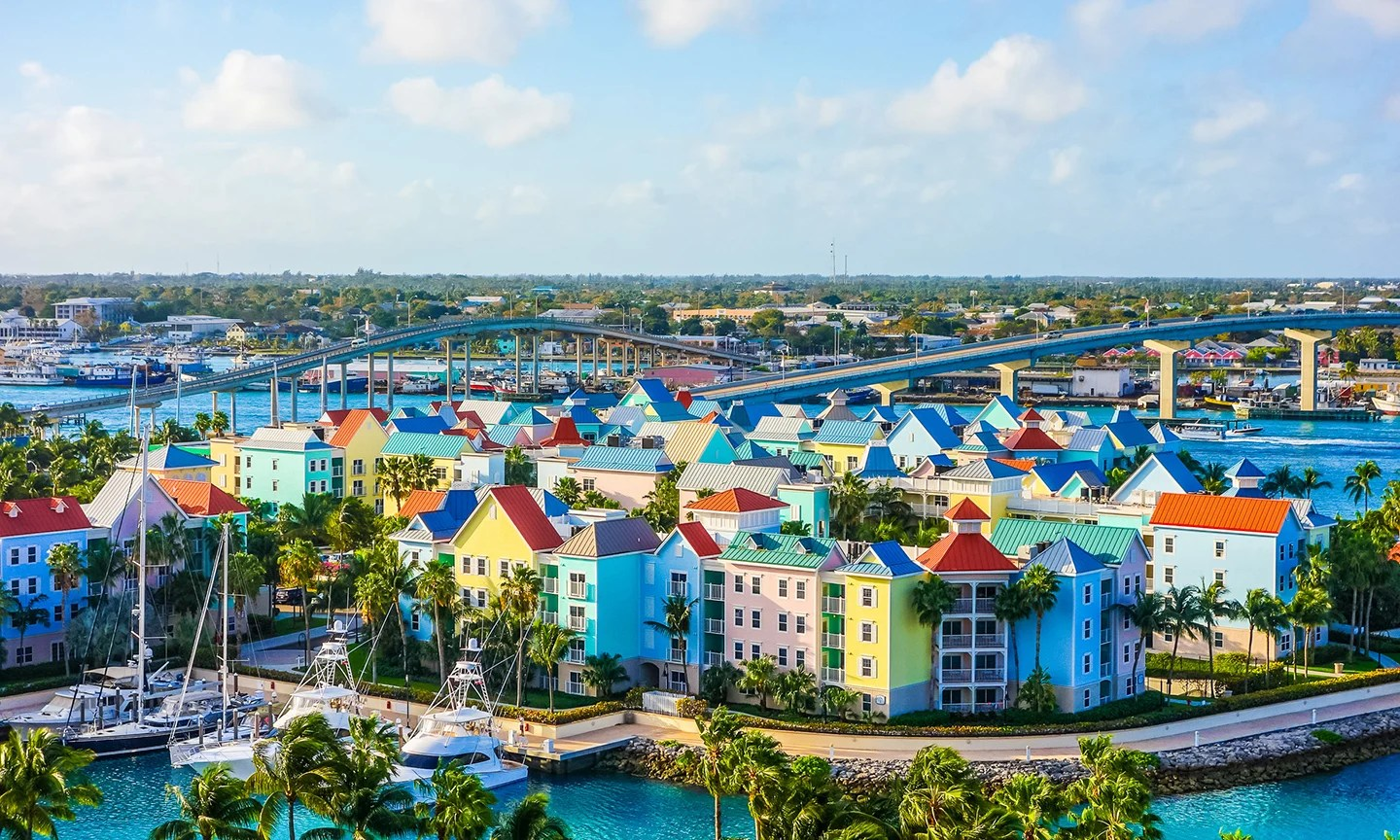 An aerial view of Nassau, Bahamas, one of the most popular foreign fishing spots for America