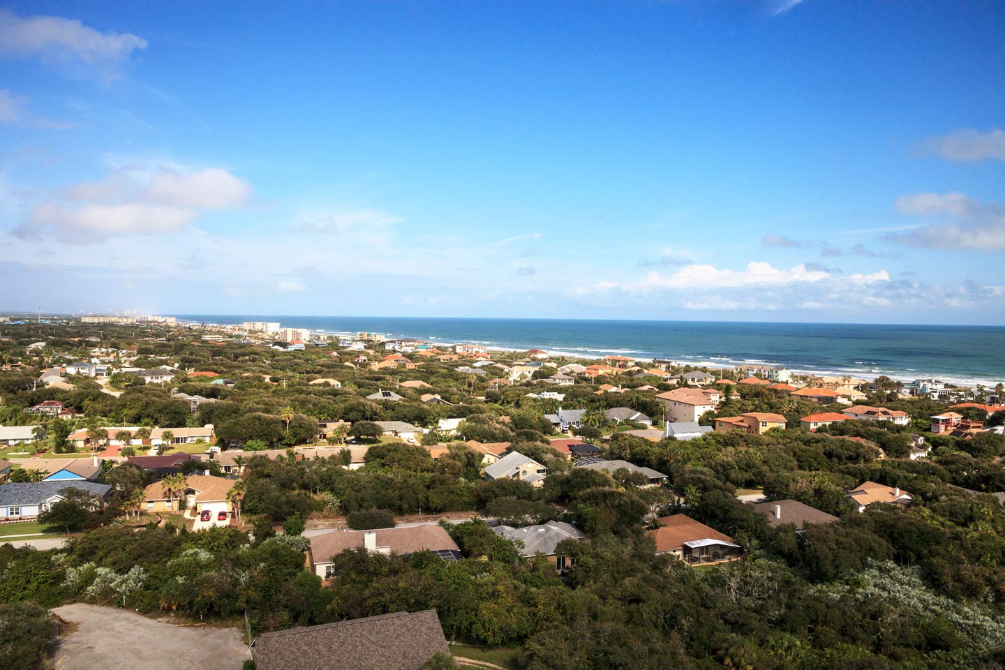 Aerial shot of residential area and waterfront in New Smyrna Beach