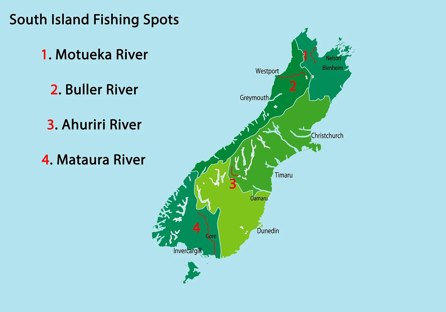 Map of best fly fishing spots New Zealand South Island