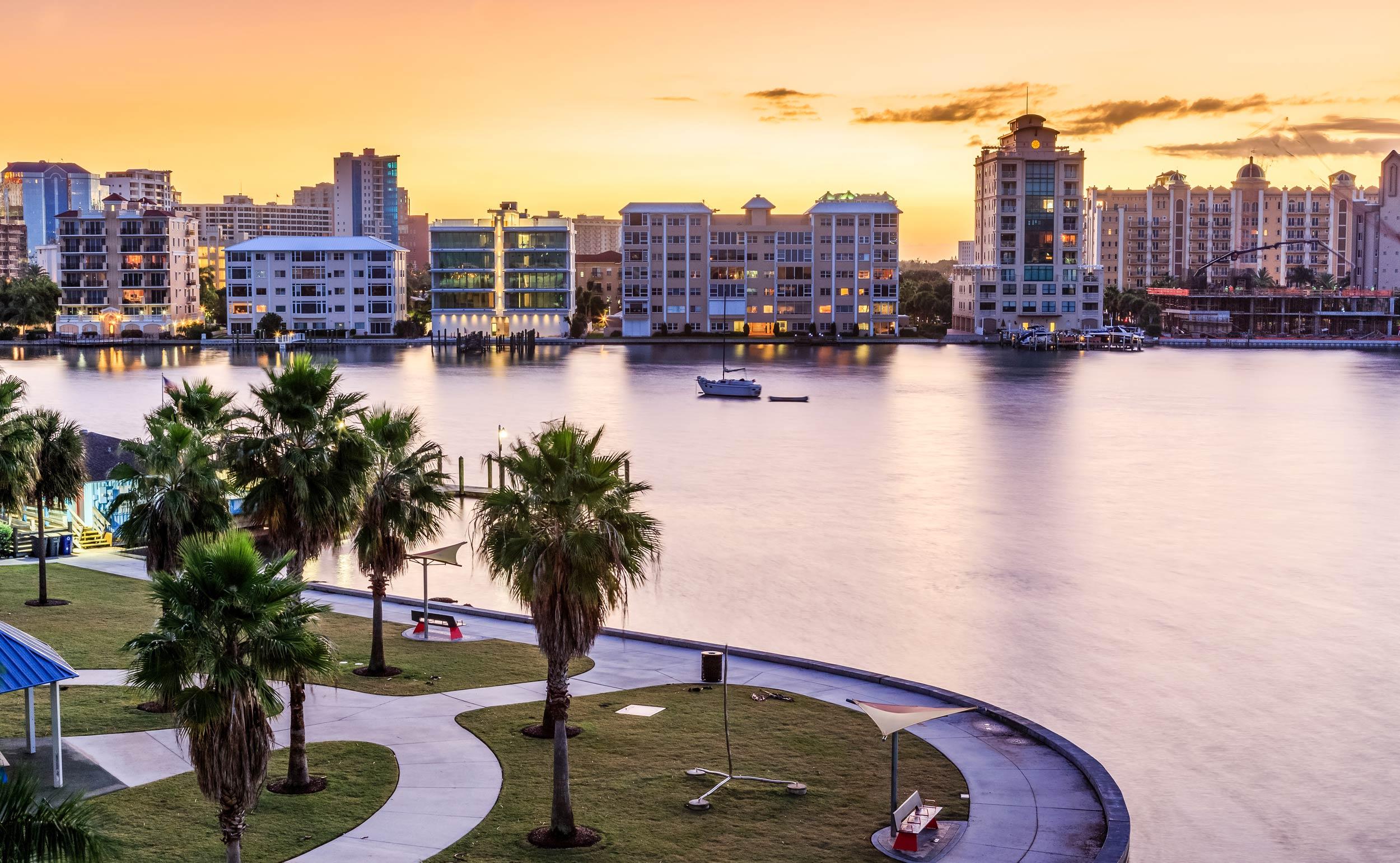 A view of downtown Sarasota at sunset