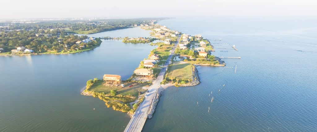 an aerial view of Seabrook and Clear Lake, Texas