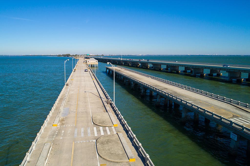 An aerial viewof the Skyway Bridge Fishing Pier in Tampa Bay