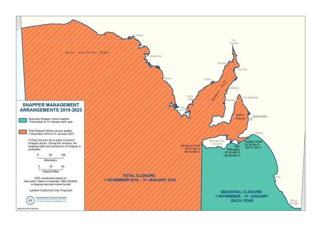 a map of the Snapper fishing closures in South Australia