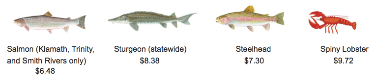 Fish species requiring a report card in California