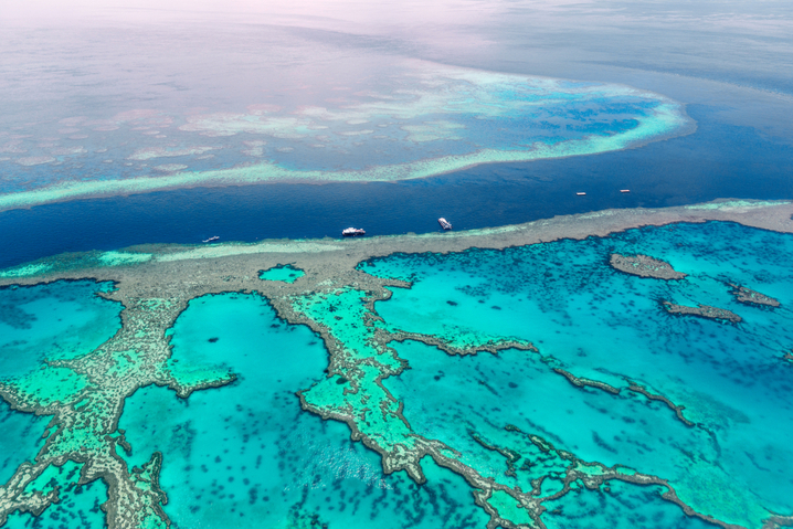 an areal view of The Great Barrier Reef