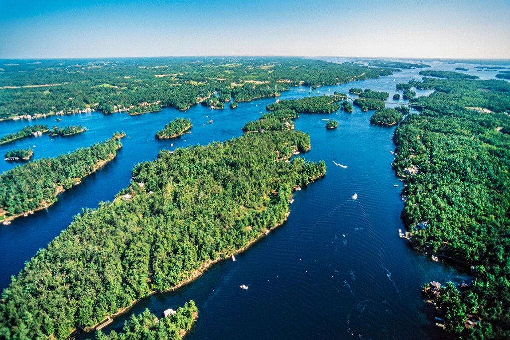 An aerial view of Ontario's Thousand Islands