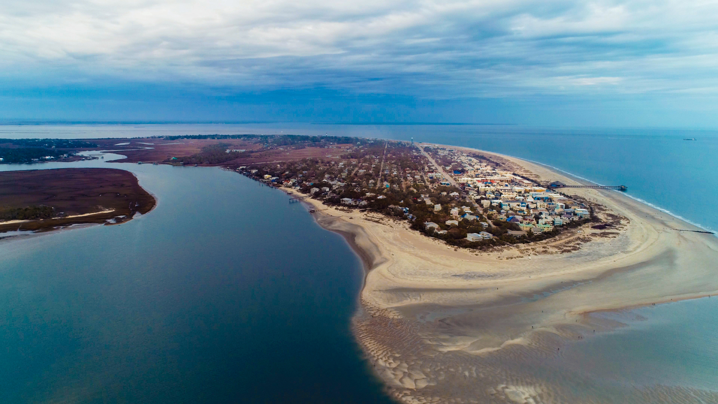 an areal view of Tybee Island