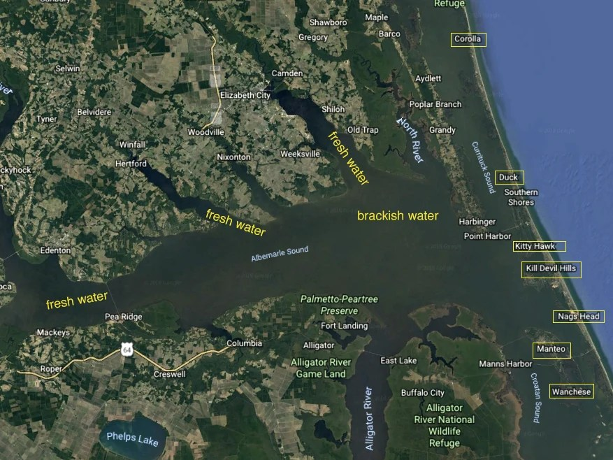 Albemarle sound fishing map, with top fishing spots and fresh and brackish waterways marked in yellow