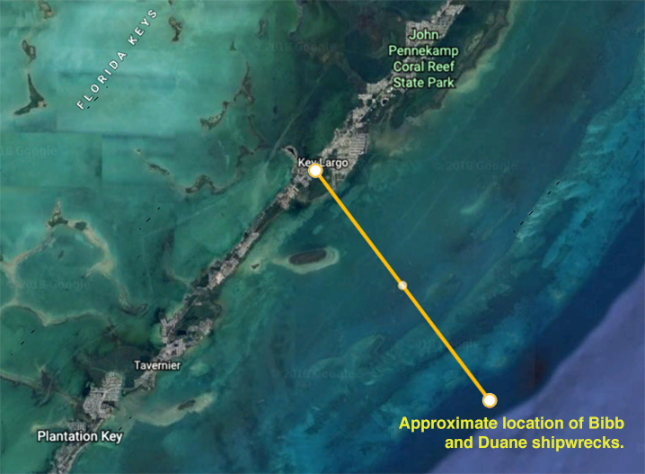 Satelite image of waters out of Key Largo and approximate location of Bibb and Duane shipwrecks.