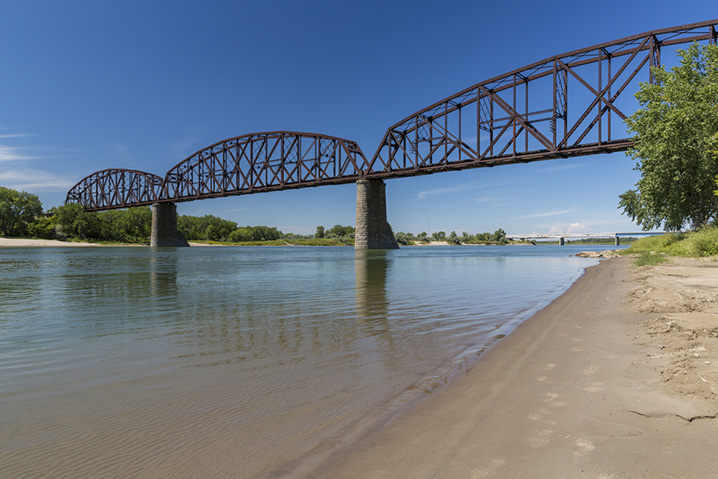 The bridge over the Missouri River near Bismarck family fishing pond.
