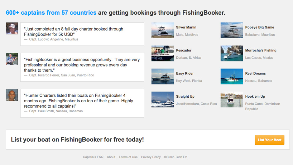 a page showing captains' thoughts on how useful listing on FishingBooker was